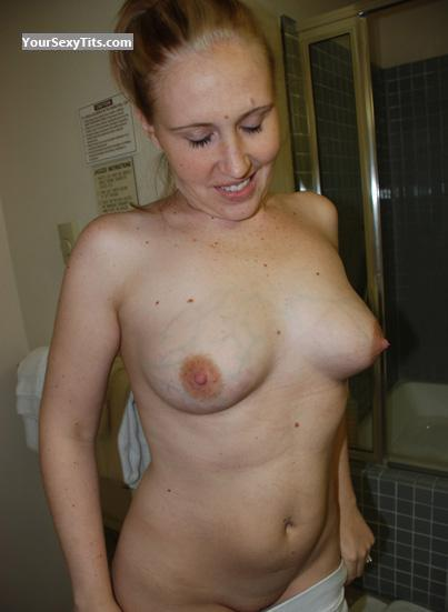 Tit Flash: Wife's Medium Tits - Topless Kera from United States